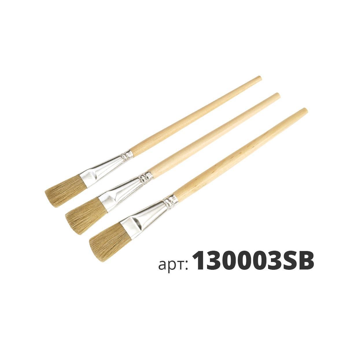 МАКО кисти для эмали, 3 штуки в наборе, светлая натуральная щетина 130003SB